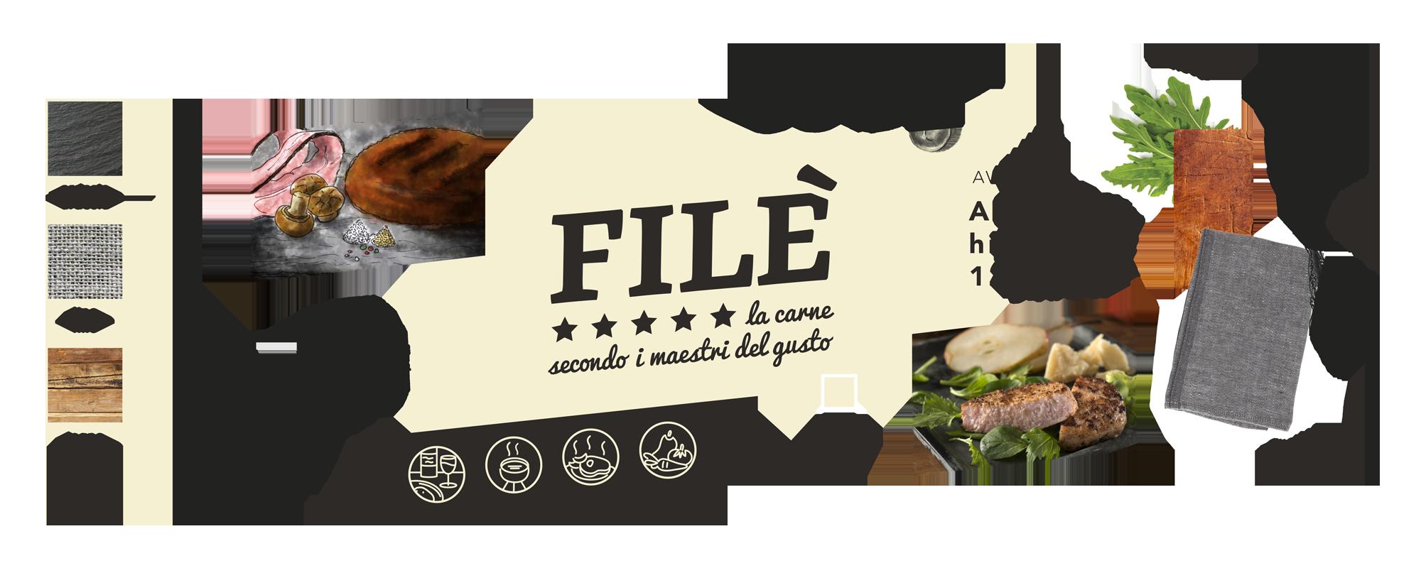 Creazione del marchio per prodotti a base di carne: Tavola di stile degli elementi del brand Filè