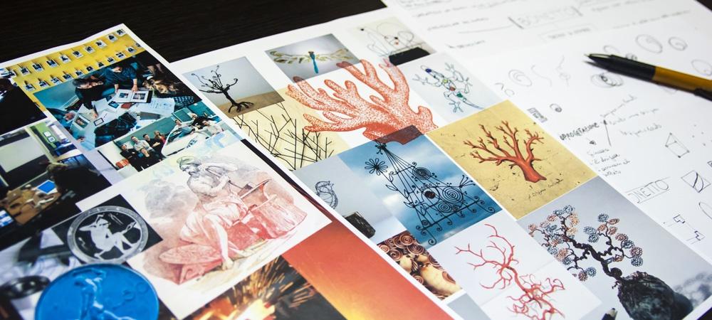 Tavole stilistiche della progettazione del marchio Bonetto