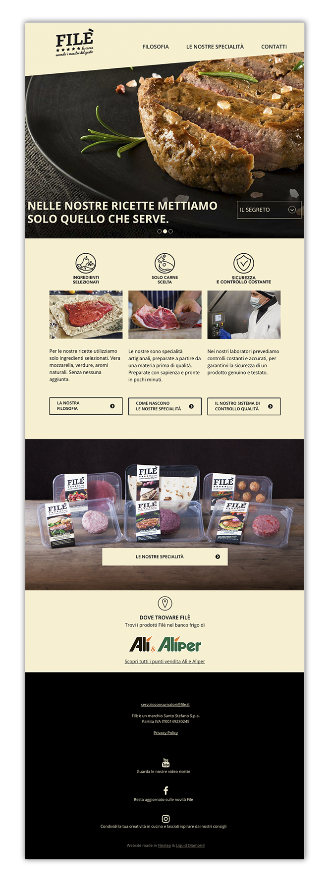 Website progettato per il brand Filè