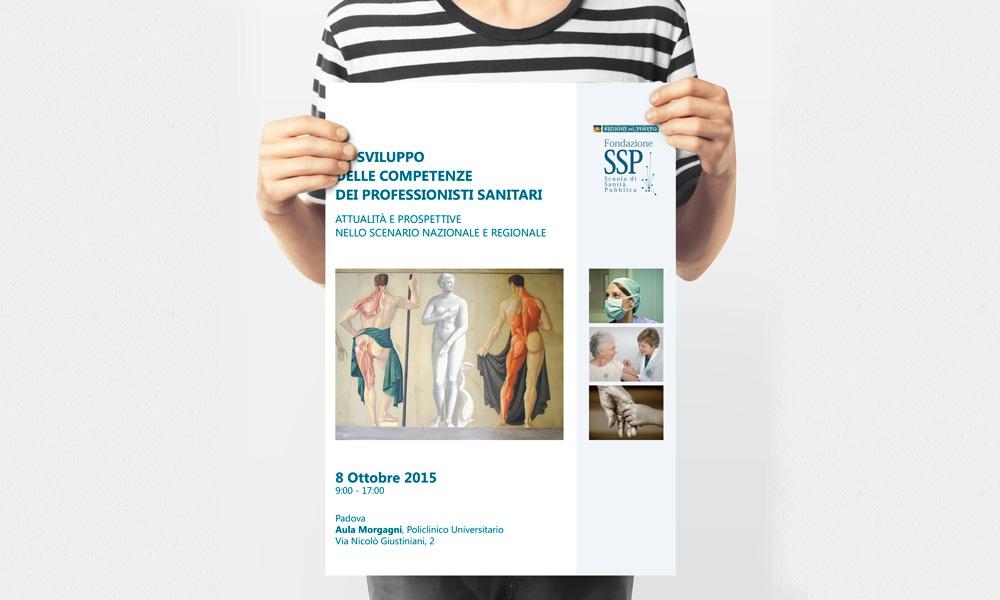 Locandina progettata per la conferenza organizzata da Fondazione scuola di sanità pubblica